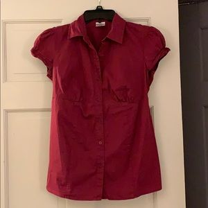 Burgundy Button-Up Maternity Blouse